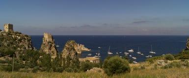 在吉普赛人储备的斯科佩洛古老金枪鱼陷井在西西里岛 图库摄影
