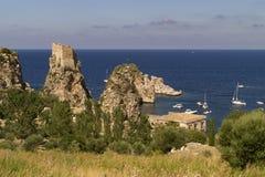 在吉普赛人储备的斯科佩洛古老金枪鱼陷井在西西里岛 免版税库存图片
