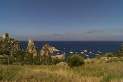 在吉普赛人储备的斯科佩洛古老金枪鱼陷井在西西里岛 库存照片