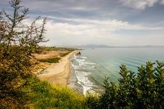 在吉雄市附近遭受海难海湾Navagio,拉哥尼亚的,希腊 库存照片