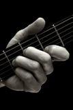 在吉他(更高四串)的特里斯坦弦 免版税库存图片