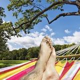 在吊床的脚反对森林沼地 免版税库存照片