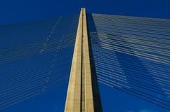 在吊桥顶部的看法 免版税图库摄影