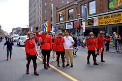 在同性恋自豪日游行渥太华的RCMP 免版税库存图片