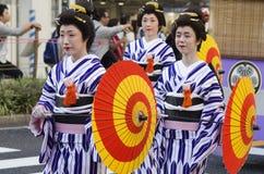 在名古屋节日,日本的Maiko 库存照片