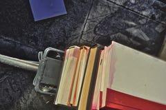 在后方自行车行李架堆积的书 免版税库存照片