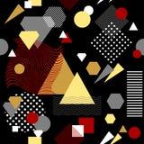 在后现代的孟菲斯样式白色黑红色灰棕色的抽象无缝的样式 库存照片