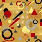 在后现代的孟菲斯样式白色黑红色灰棕色的抽象无缝的样式 免版税库存图片
