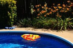在后院游泳池的一条膨胀的玩具鱼 库存照片