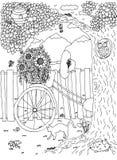 在后院的自行车 蓝色云彩图象彩虹天空向量 皇族释放例证
