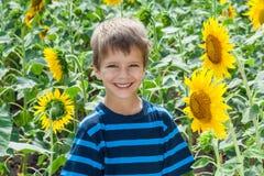 在向日葵之间的微笑的男孩 免版税库存照片
