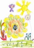 在向日葵和蝴蝶的蜂蜜蜂。儿童图画 库存图片