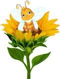 在向日葵的蜂后 向量例证