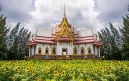 在向日葵的领域的寺庙 库存图片