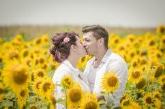 在向日葵领域的美好的夫妇 免版税库存照片