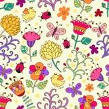 在向量的花卉无缝的模式 库存图片