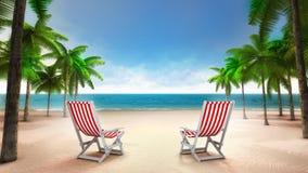 在含沙热带海滩的两张轻便折叠躺椅 库存照片