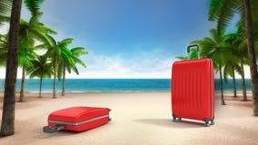 在含沙热带海滩的两红色行李 免版税库存图片