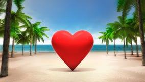 在含沙热带海滩的红色心脏 免版税库存图片