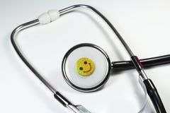 在听诊器的各种各样的情感 库存图片