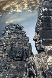 在吴哥窟的古老Bayon寺庙12世纪,暹粒,柬埔寨 免版税库存图片