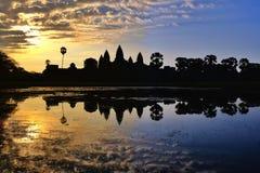 在吴哥窟,寺庙的日出 柬埔寨 库存照片