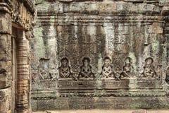 在吴哥窟,柬埔寨废墟的细节  库存照片