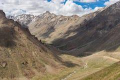 在呈绿色季节, Ladakkh地区,印度的Leh 库存照片
