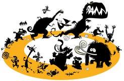 在周期的连续动物剪影 免版税库存图片
