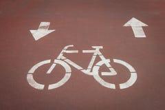 在周期道路的Bycicle标志 免版税库存照片