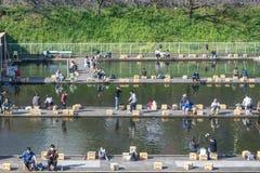 在周末期间,商业捕鱼业池塘的人们 免版税库存照片