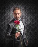 给在周年的一朵玫瑰 免版税库存图片