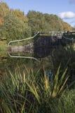 在和克莱德运河的一座锁桥梁 免版税库存照片