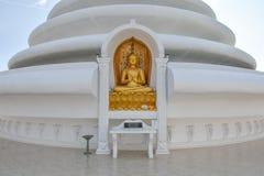在和平塔的金黄budda雕象在斯里兰卡 库存图片