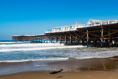 在和平的海滩的水晶码头在圣地亚哥,加利福尼亚 库存图片