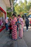 在和服礼服和两三名回教妇女的未认出的东瀛女人背景窗口商店的 库存图片