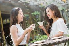在咖啡店谈话的两名妇女集会没有用途智能手机 图库摄影