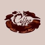 在咖啡形状的咖啡豆和文本象飞溅 向量 免版税库存照片