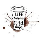 在咖啡杯的启发字法与飞溅手拉 皇族释放例证