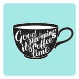 在咖啡杯的字法 库存照片