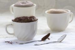 在咖啡杯的巧克力蛋糕 库存图片