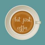 在咖啡杯的激动人心的咖啡行情 免版税库存照片