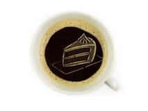 在咖啡泡沫的蛋糕 免版税库存图片