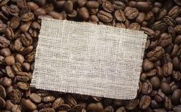 在咖啡的旧布标签 库存照片