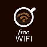 在咖啡的WiFi标志 库存图片