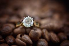 在咖啡豆中的大金刚石单粒宝石 免版税库存图片