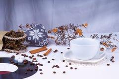 在咖啡豆中的空的咖啡杯和心脏塑造 免版税库存照片
