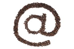 在咖啡豆的标志 库存照片