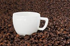在咖啡豆背景的加奶咖啡杯子  库存照片