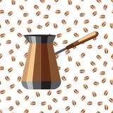 在咖啡豆背景的咖啡壶  一只咖啡壶的象在白色背景的用咖啡豆 免版税库存照片